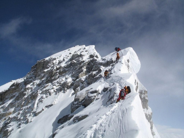 Climbing route on Everest