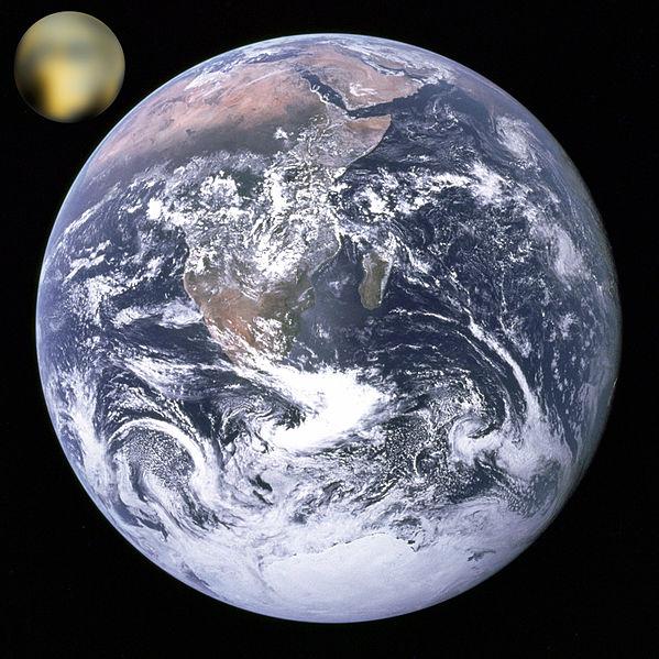 Pluto's size vs the Earth