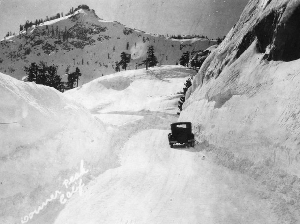 Old Donner Summit highway after a big storm