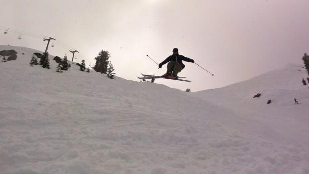 Sending it on old school skinny skis
