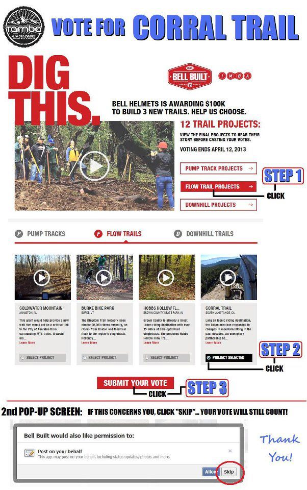 Vote Tahoe for the flow trail in Bell's dig it sweepstakes
