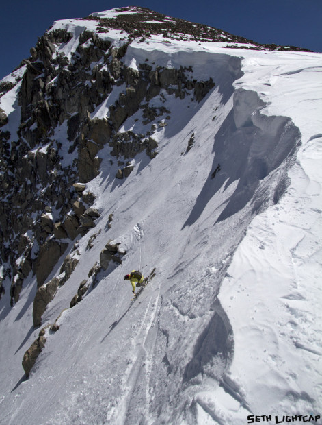 The Tioga Pass Road opening last weekend was under the radar. Relatively few people were out touring on the pass. Zeb Blais got the memo and proceeded to rip the sh!t out of the Solstice couloir on Mt. Dana.