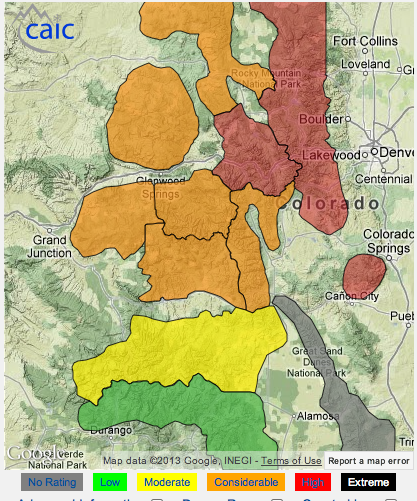 Colorado Avy Danger Right Now.  Red = High