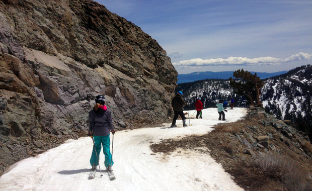 Low tide skiing at Squaw Valley, here the traverse to Lady's Downhill on KT