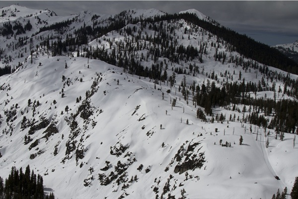 White Wolf as seen from Squaw.  If you look close you can see a little Troy in his snowcat in the bottom right