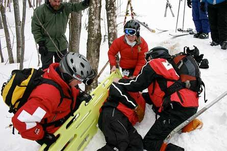 ski patrol training exercise.