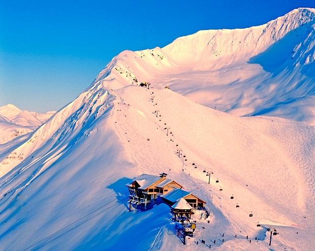 Alyeska Sunset, AK, snowiest,