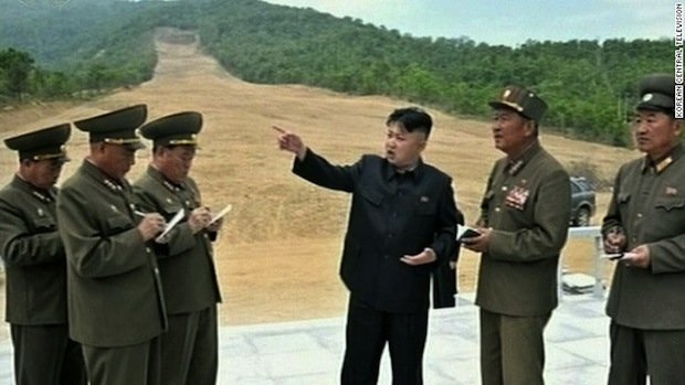 Kim Jong-un meeting with soldier-builders at Masik Ski Area