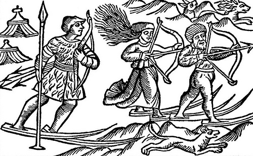 "This picture shows two Sami (Lap) men and a woman hunting on skis. Illustration is from a book by Olaus Magnus ""Historia de Gentibus Septentrionalibus"" (History of the Nordic Peoples), published in Rome 1555."