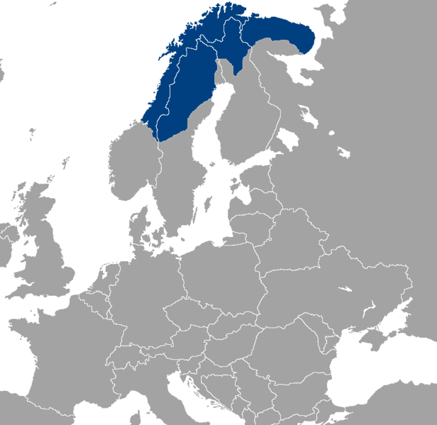 The original lands of the Sami people
