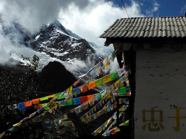 Southwestern Tibet.  Tibetan prayer flags and 20,000 foot mountains.