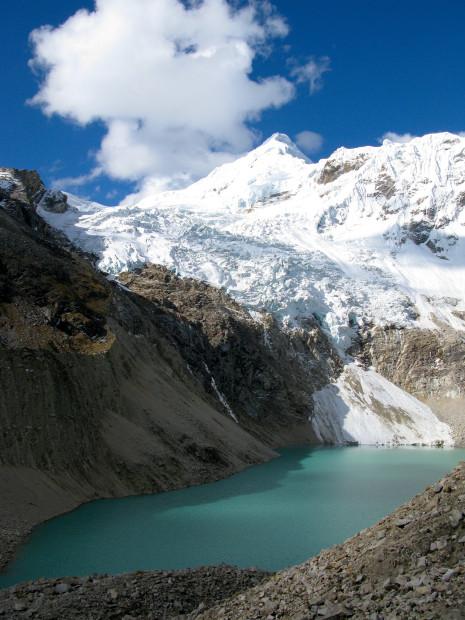 Tocllaraju in the Ishinca Valley of the Cordillera Blanca's in Peru.  She stands at 19,912 feet.