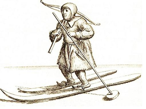 Sami with crossbow and skiis. Samisk jeger med armbrøst på ski 1674