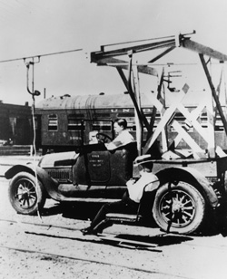 James Curran testing and showing off the prototype chairlift to J.P. Morgan