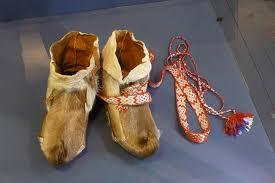 Sami ski boots in the Arctic Museum in Norway