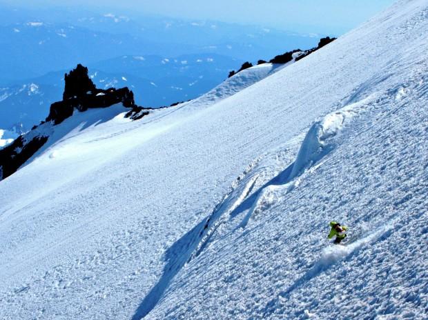 Tyler Jones skiing the Cowlitz glacier