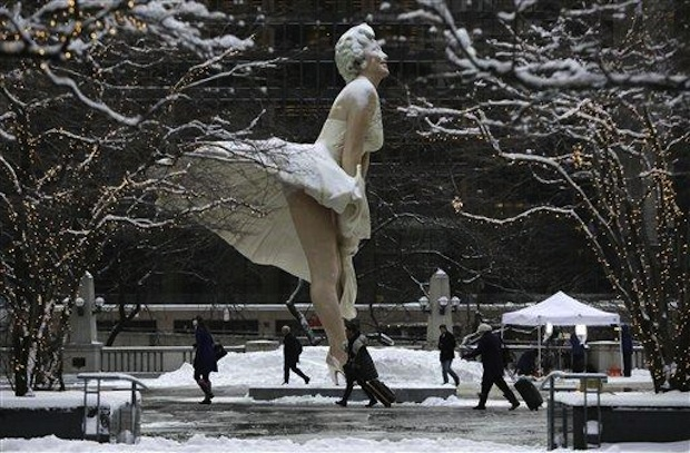 Marilyn love snow in downtown Chicago.