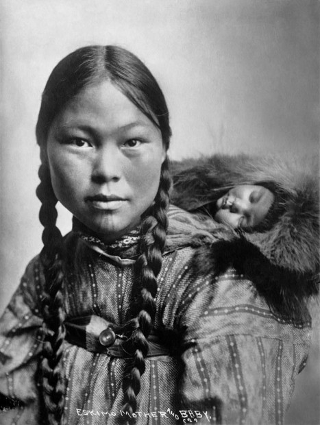 Eskimo woman and baby