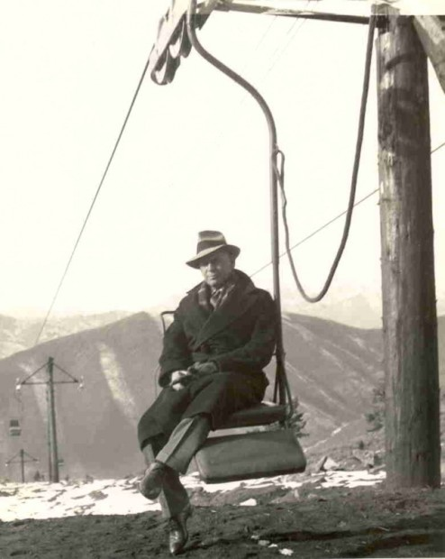 James Curran and the first Ski Lift in Sun Valley, ID, chairlift