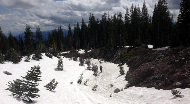 skiing back out the drainage on mount shasta