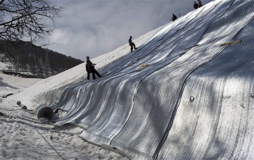 Sochi snow storage system at Rosa Khutor ski resort on April 5th.  Photo:  Natailya Vasilyeva/AP