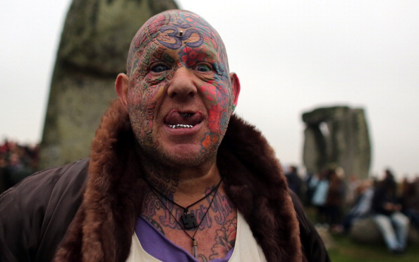 Mad Al hangs with the Druids at Stonehenge during summer solstice today. Photo by Matt Cardy/Getty Images