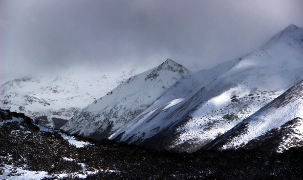 South America first snow of the year mountain top