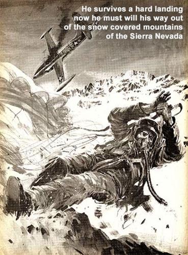 An artists portrayal of Lt. Steeves in his sierra nevada plane crash