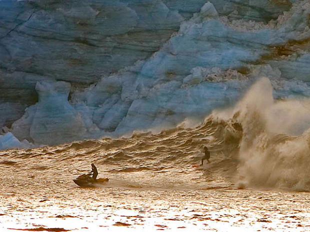 Glacier wave surfing
