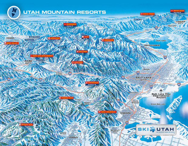 Utah ski resort map showing PCMR and Canyons side by side