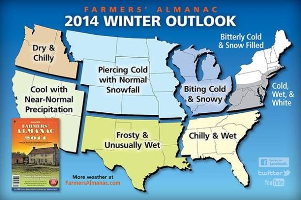 2014 Winter Weather Forecast by The Farmers' Almanac