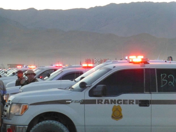 Cops lined up at Burning Man.