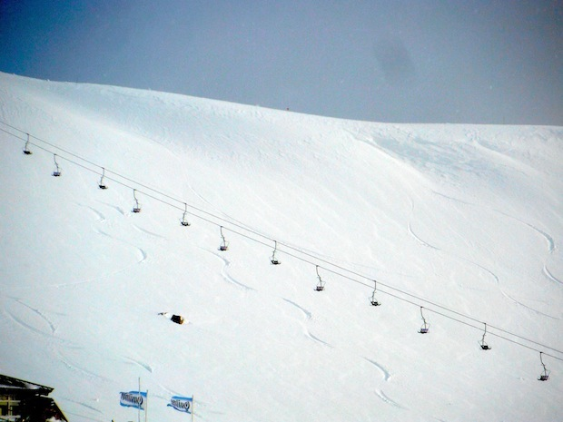 Upper mountain first tracks today at Catedral