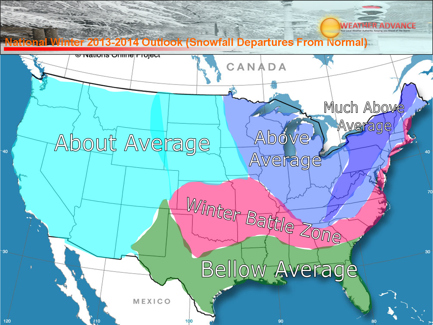 USA Winter Weather Forecast For From WeatherAdvancecom - Average snowfall map us