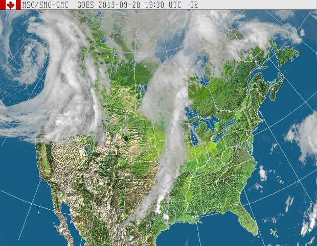 GOES West (North America) satellite image at 1:20pm, September 28th, 2013.