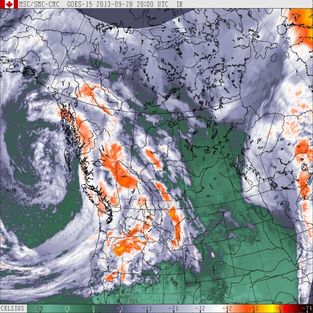 GOES West  (Western Canada) IR satellite image at 1:20pm, September 28th, 2013.