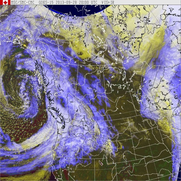 GOES West (Western Canada) IR + visibile satellite image at 1:20pm, September 28th, 2013.