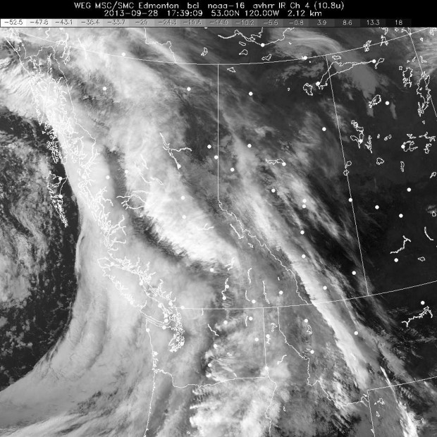 GOES West (British Columbia) IR satellite image at 1:20pm, September 28th, 2013.