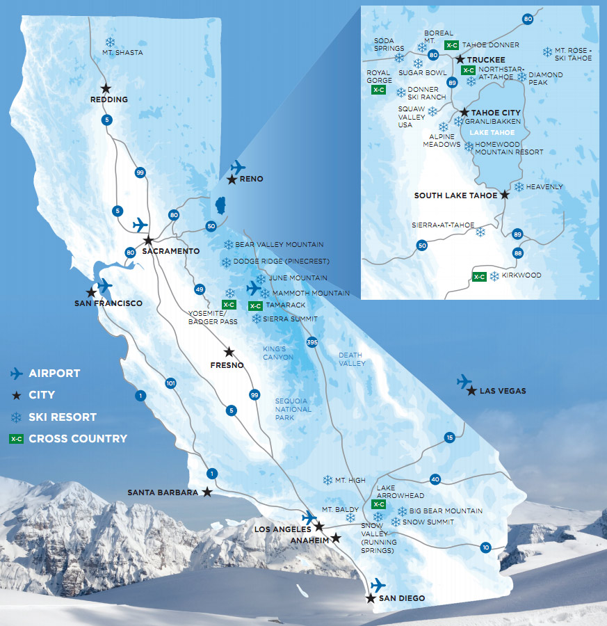 Map of California Ski Resorts