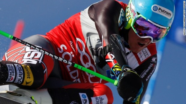 The US Ski Team's Ted Ligety winning Giant Slalom in Soelden, Austria.