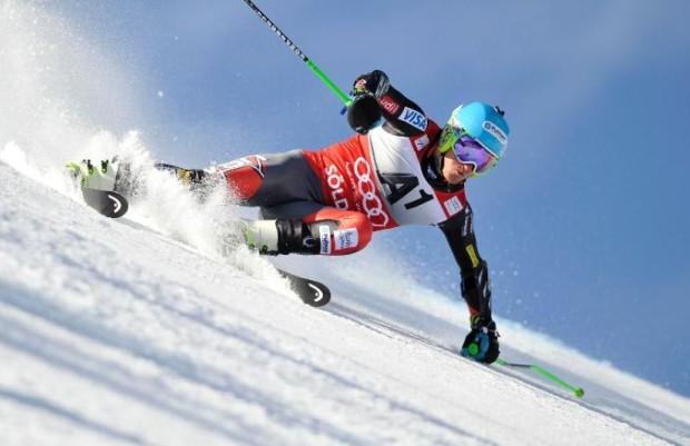 The US Ski Team's Ted Ligety ripping Giant Slalom in Soelden, Austria.