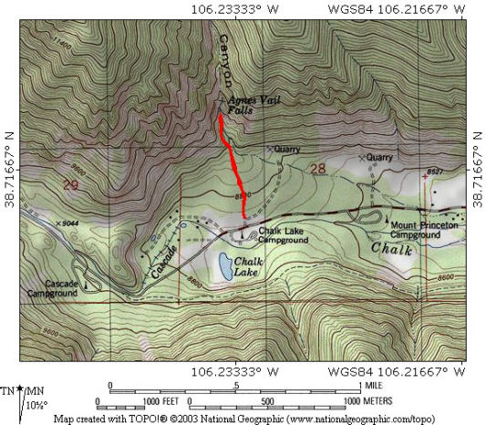 Map of hike to Agnes Vaille Falls, CO