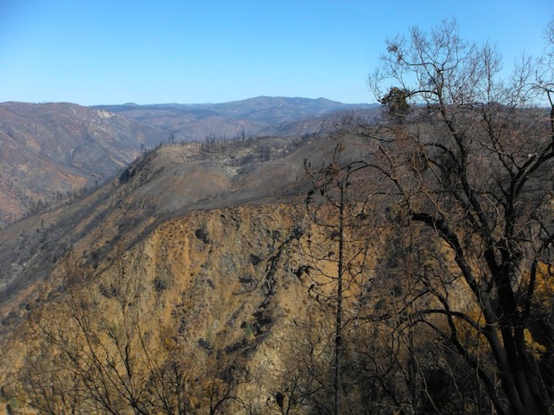 Rim of the World vista point view showing Rim fire burn.  October 20th, 2013.