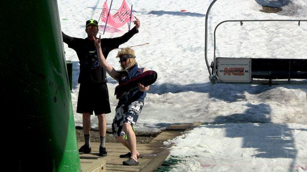 Lifties dominating at Alyeska ski resort in Spring 2011. photo: snowbrains.com
