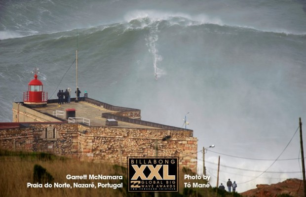 Greg McNamaras current world record wave at Nazare, Portugal in 2012.