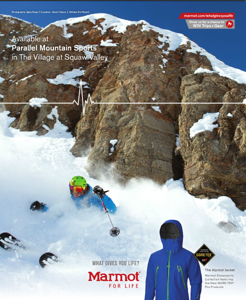 SnowBrains co-founder Eric Bryant display expensive dental work in Squaw Magazine.