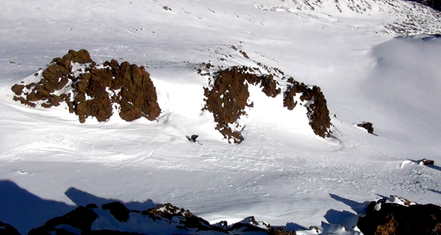 couloir skiing in Argentina conditions report
