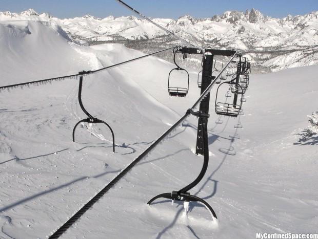 Deep snow at Mammoth ski resort, CA in 2011.