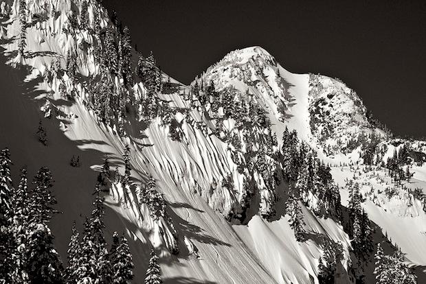 Mt. Baker sidecountry = Mt. Herman with flutes of snow. Baker dominates. photo: lee rentz