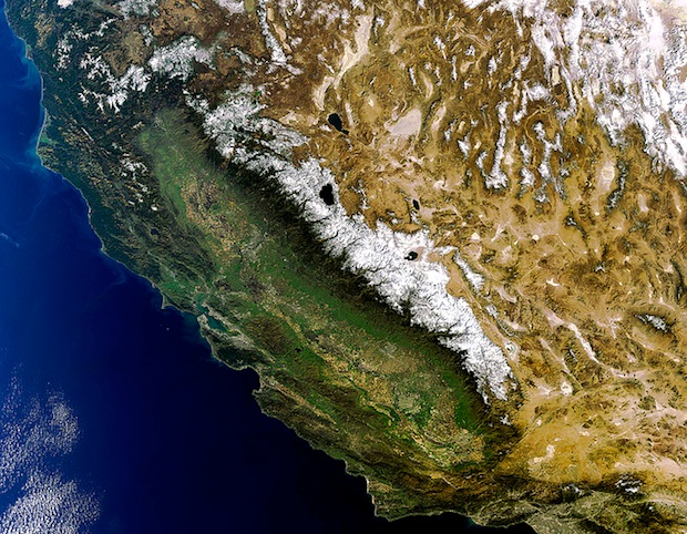 California Sierra Nevada mountains from space.